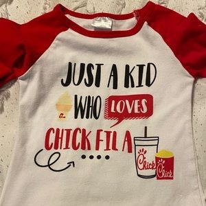 "Girls ""just a kid who loves Chick-Fil-A"" shirt"